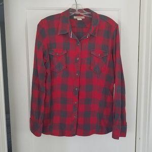 Red & Grey Plaid Shirt 100% Cotton